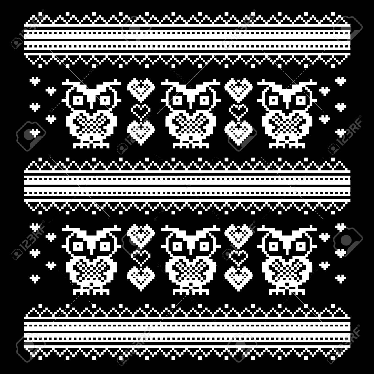 Ornement Avec Hibou Et Coeur Modèle De Pixel Art Oiseaux Point De Croix Schéma De Tricot Et De Broderie Modèle De Vecteur