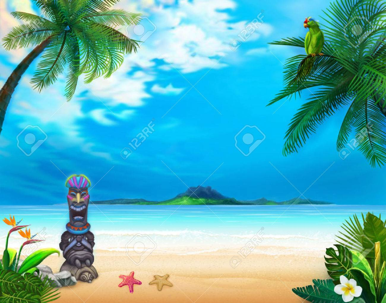 Hawaiian Landscape With Funny God And Green Parrot The Picture