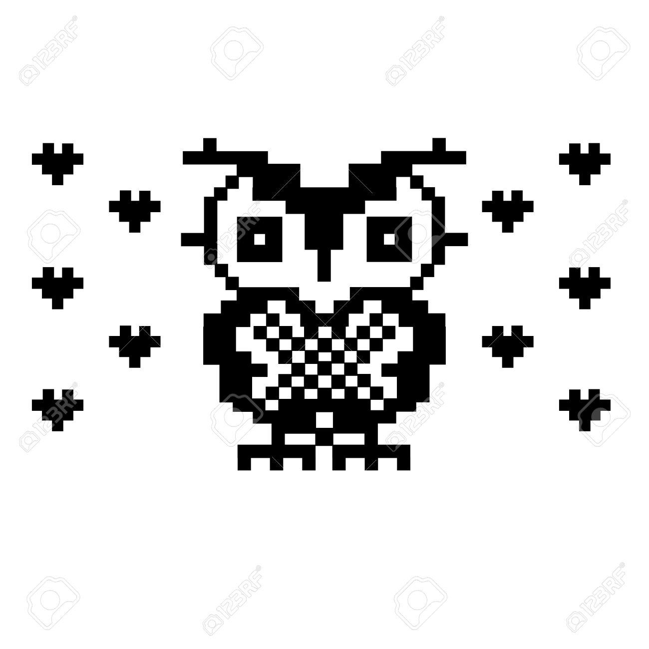 Búho Precioso Y Corazones. Pixel Pájaro Plantilla De Arte. Punto De ...