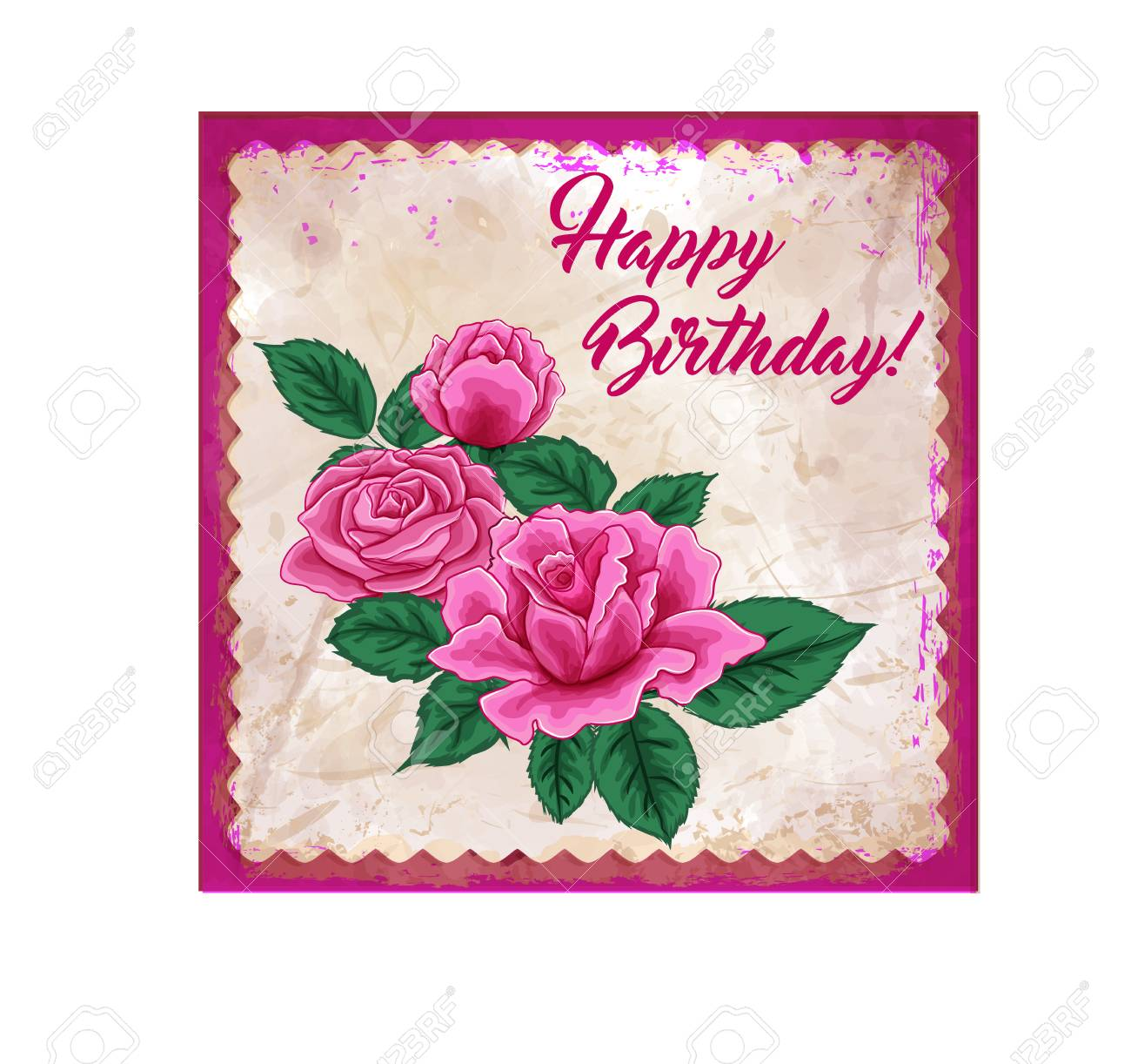 Happy Birthday Card Beautiful Roses Bouquet Drawing On Pink Grunge Background Stock Vector