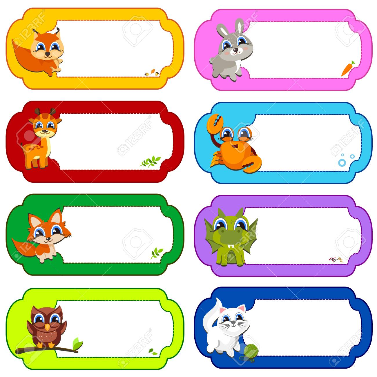 Illustration Of Many Animals In A Colored Frames. Color Vector ...