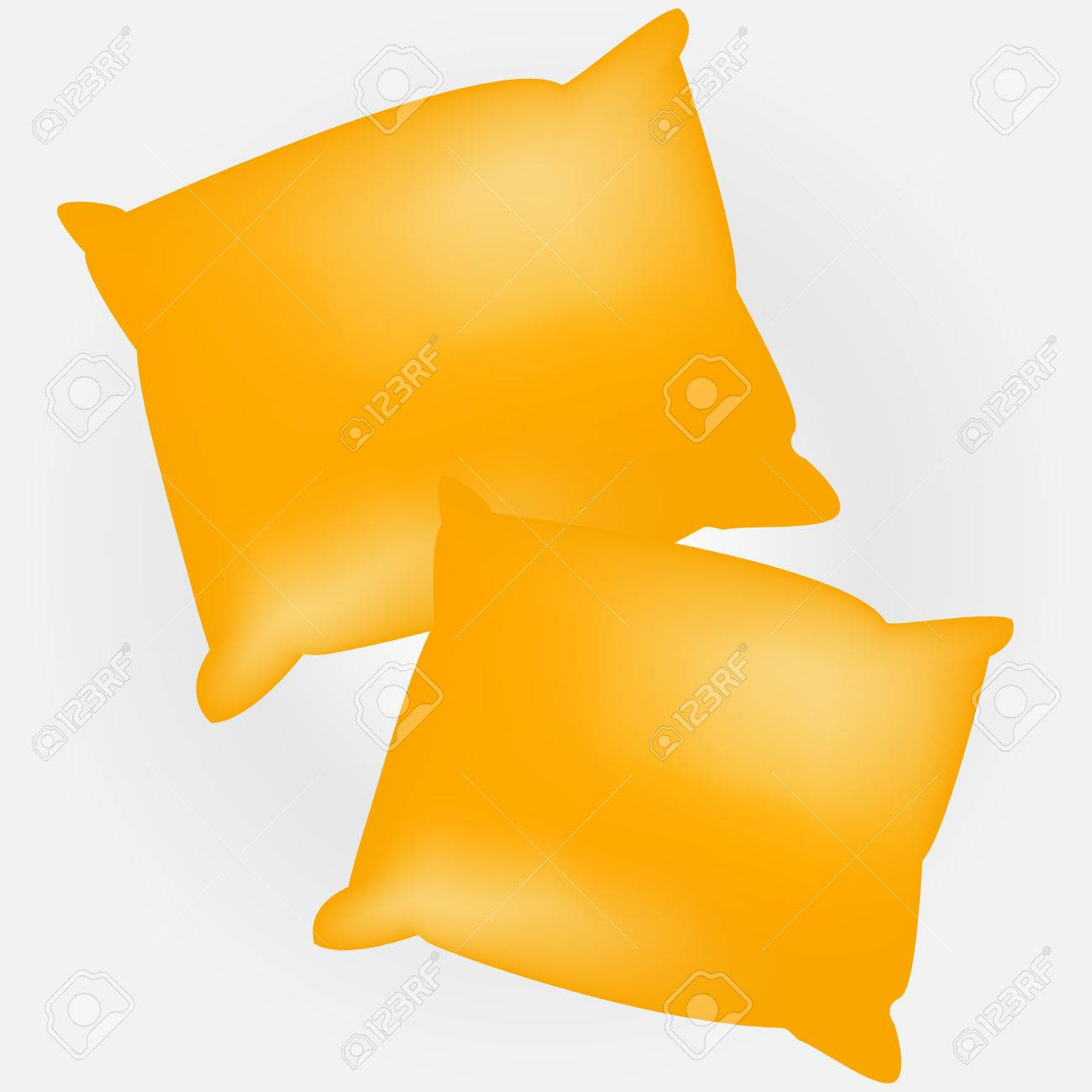 Two Yellow Empty And Soft Pillows. Template For Your Design. Royalty ...