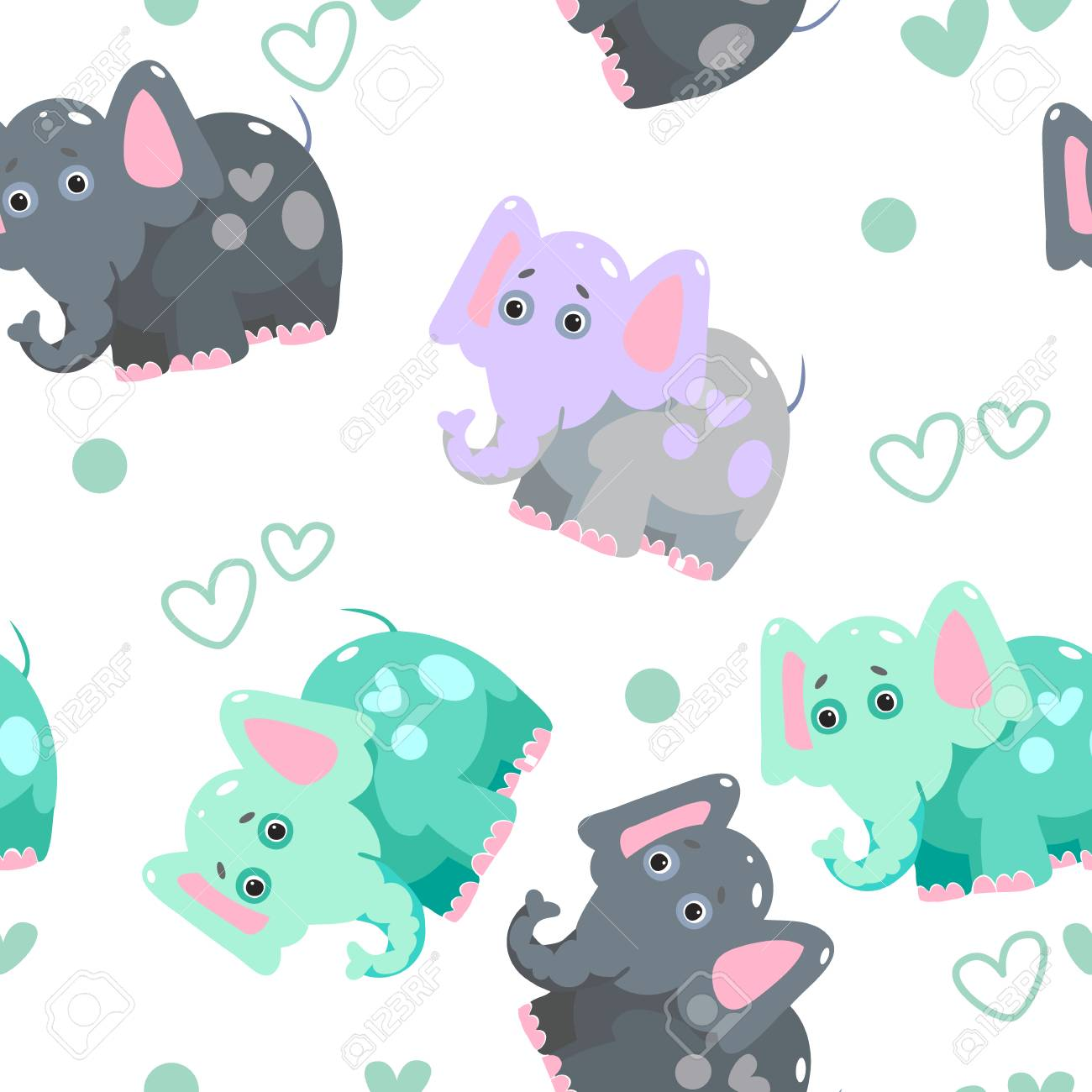 Texture Of Cheerful Colorful Elephants And Hearts Fantasy Pattern Can Be Used For Wallpaper