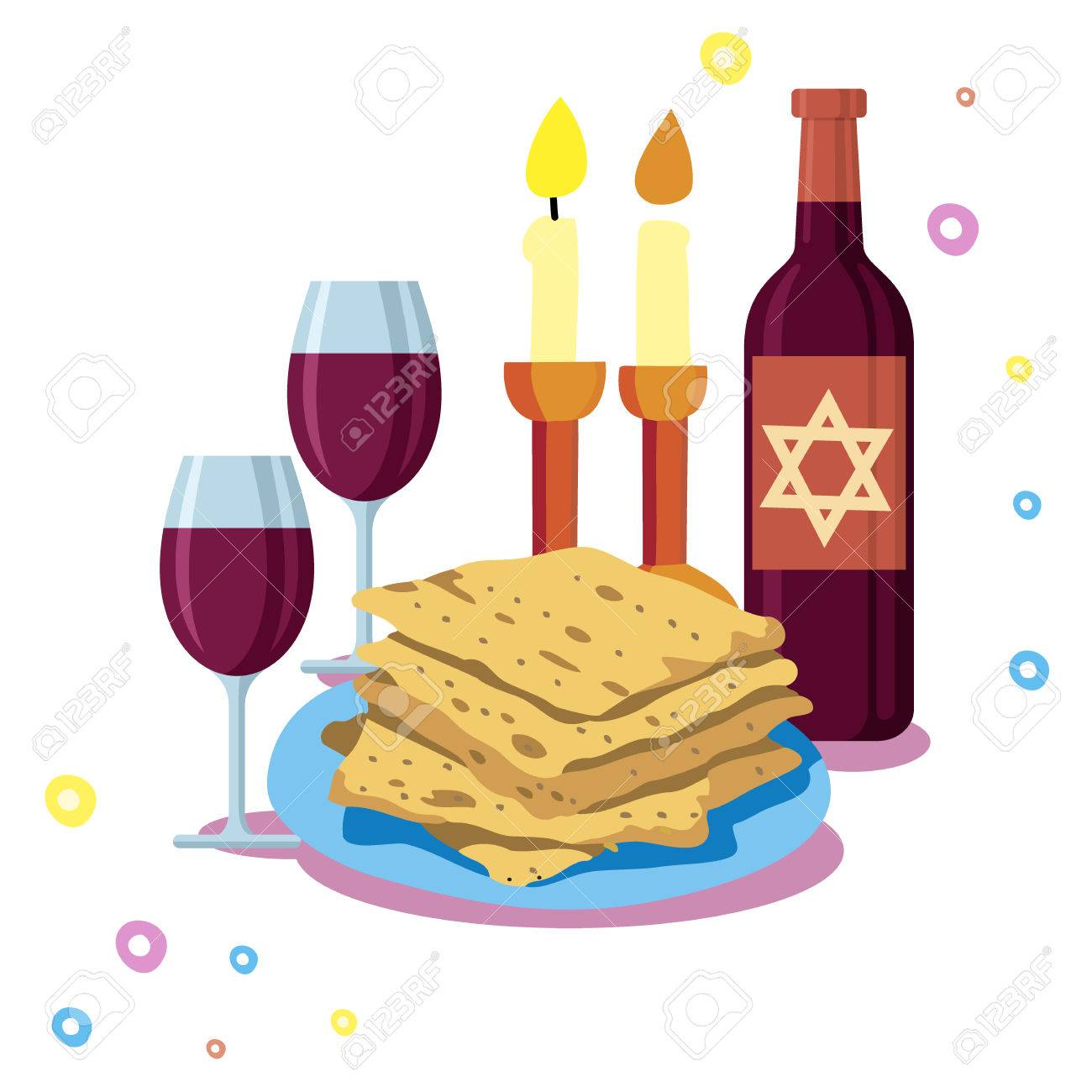 Greeting card shabbat shalom candles cups and matzo jewish greeting card shabbat shalom candles cups and matzo jewish holiday vector illustration stock kristyandbryce Images