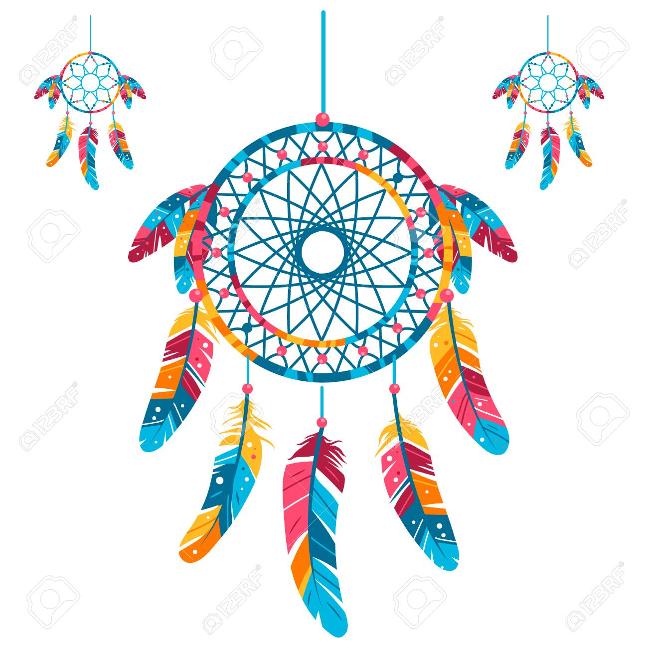 - Set Colored Dream Catcher, Isolated On White Background. Vector