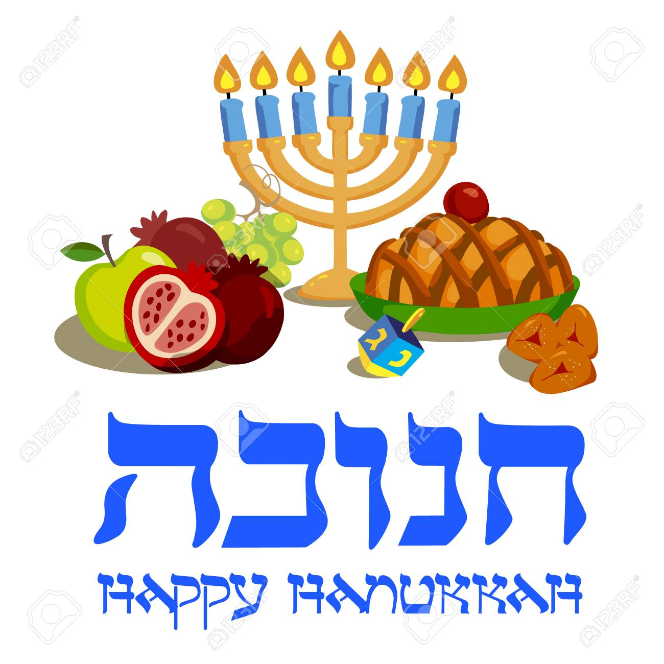Jewish Holiday Hanukkah Elegant Greeting Card In The Cartoon