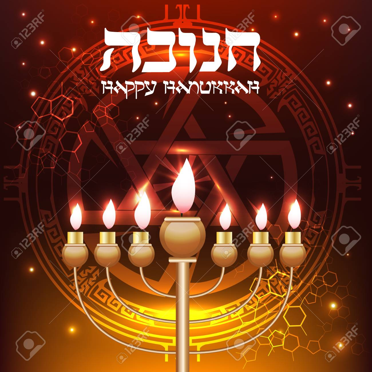 Elegant happy hanukkah greeting card vector background with stock elegant happy hanukkah greeting card vector background with menorah and david star stock photo m4hsunfo