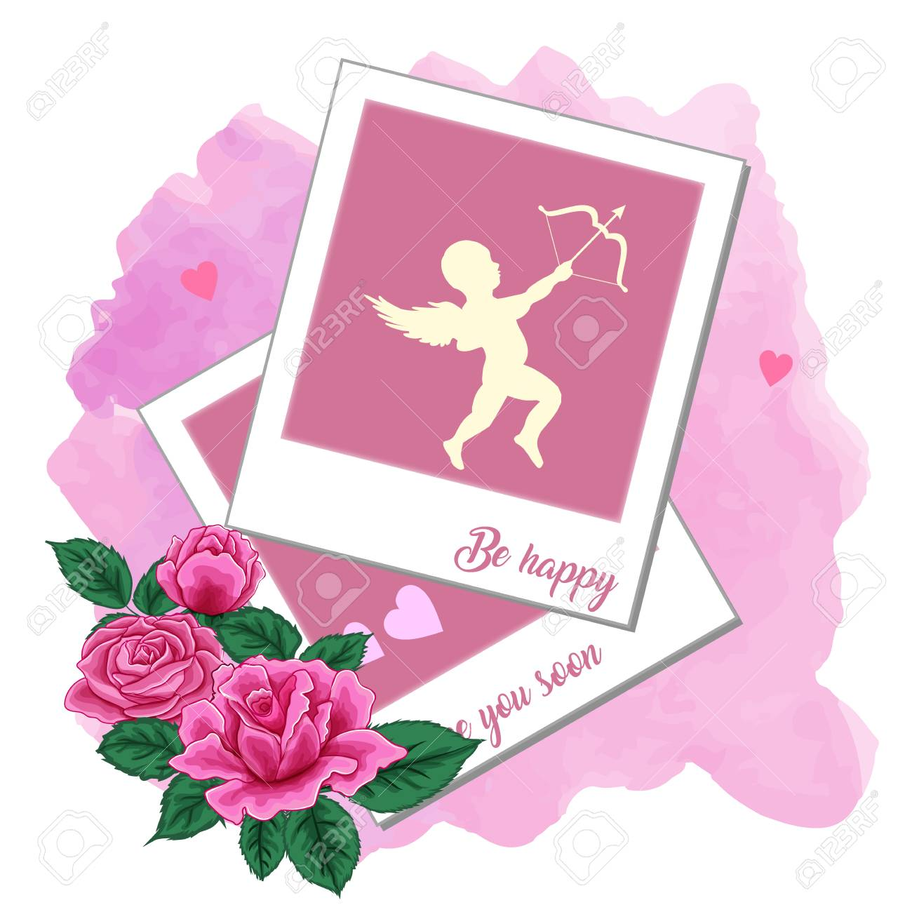 Photo Frames Pink Roses And Cupid On A Watercolor Background