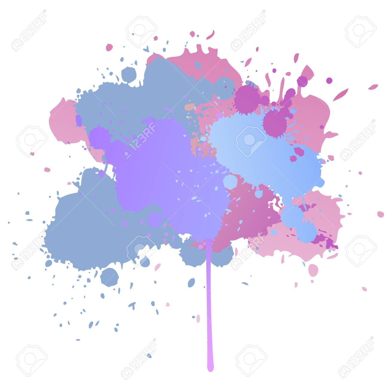 Gouache background pink blue and purple watercolor paint splashes on white vector pattern