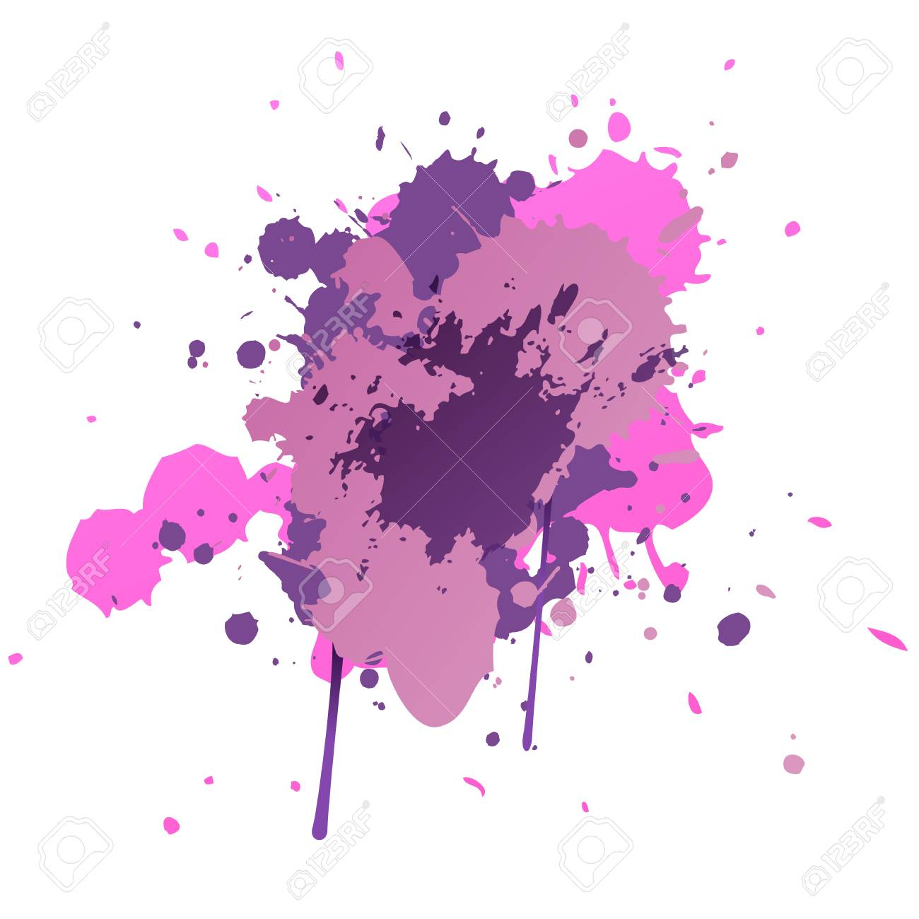 Paint Splatters Hand Drawn Splashes Colorful Ink Spots Acrylic