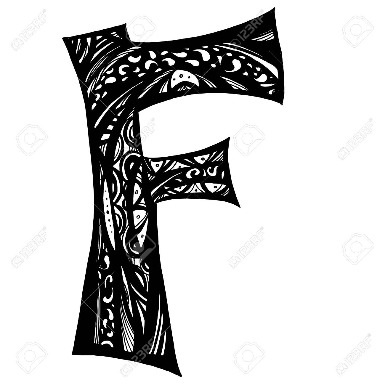 Elegant Black Letter F Doodle Style Calligraphy Beautiful Logo Vintage Drawn Emblem For