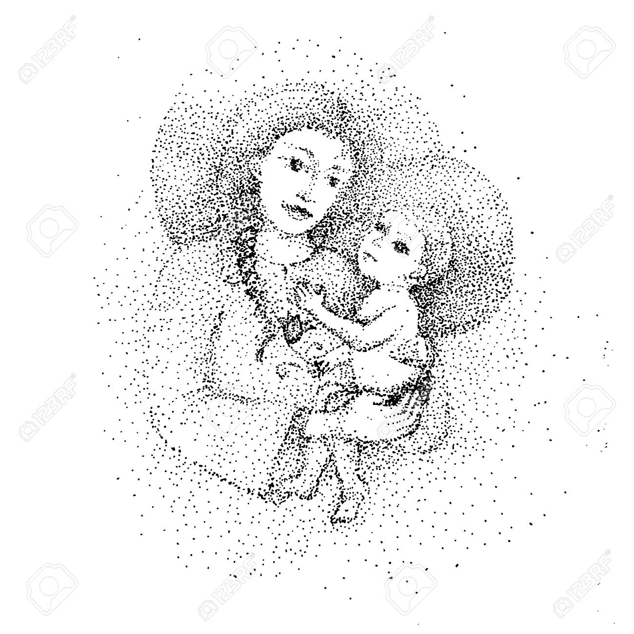 Mother and son stylized vector silhouette outlined sketch of mom and child stock vector