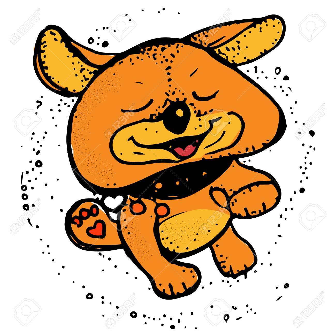 Happy Dog Running Greeting Card Design T Shirt Print Invitation Template