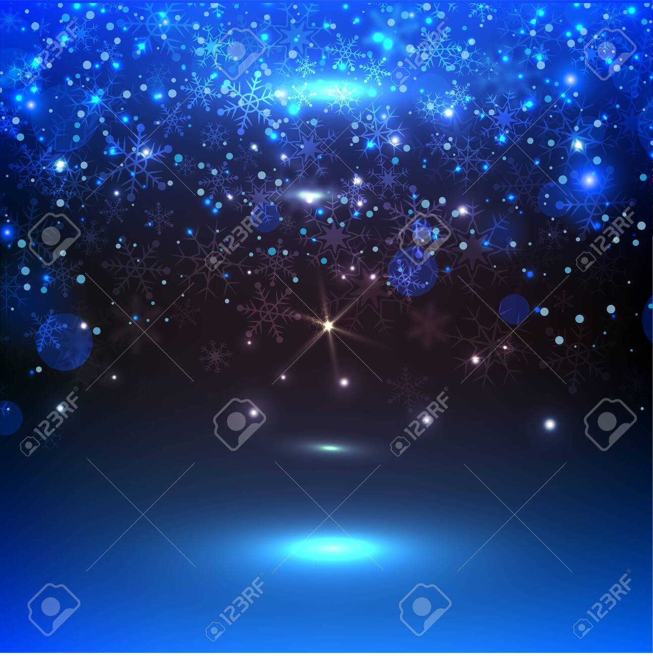 blue background with snowflakes, vector illustration. Christmas background with magic light - 139407109