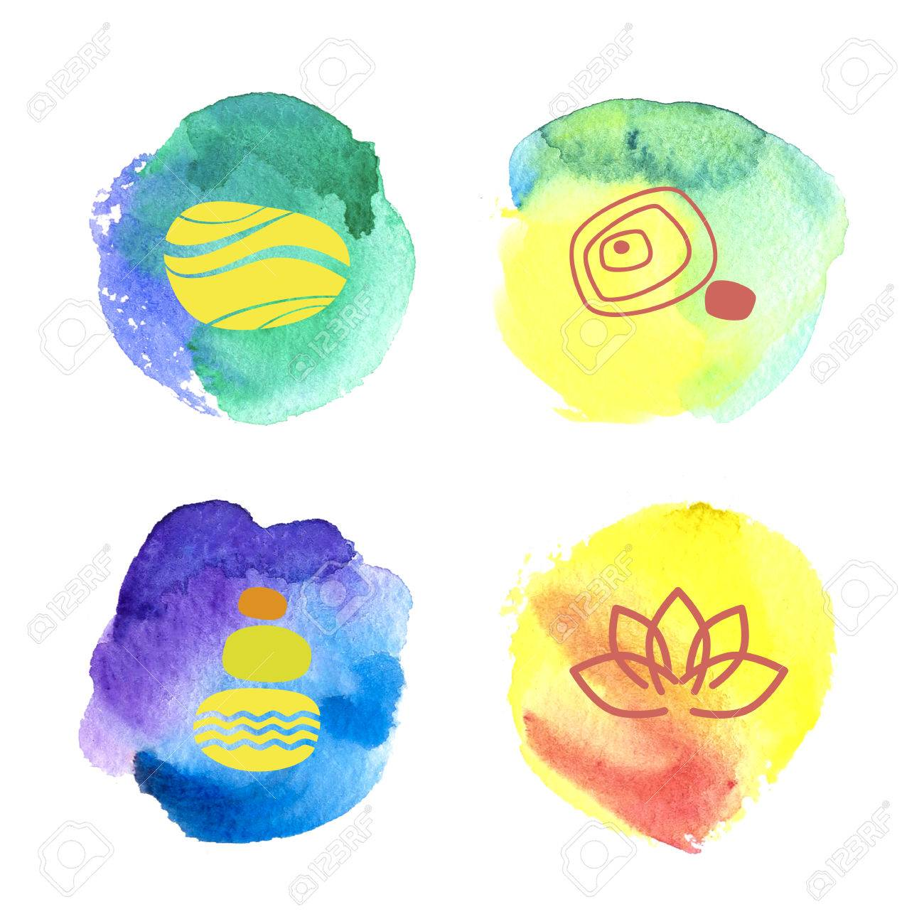Logo Template With Hand Drawn Watercolor Backdrop And Yoga Symbol ...