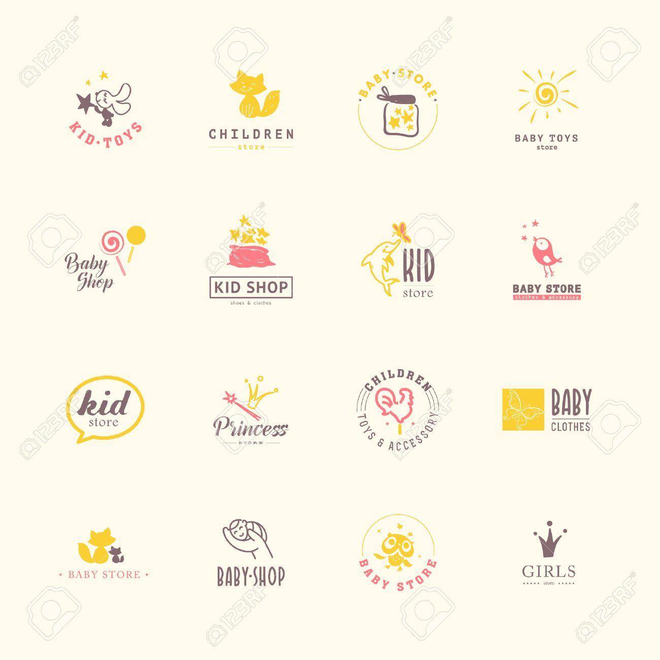 da716551529d2 Banque d images - Collection Vecteur de bébé logo. Enfants conception d étiquettes  de mode. Vêtements pour enfants de marque. Bébé et magasin d enfant ...