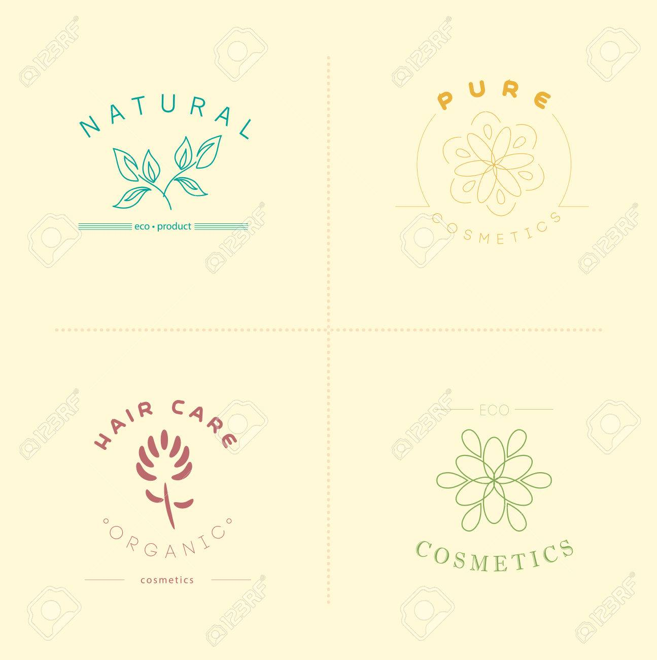 Vector Collection Of Cosmetics Logo Identity Templates. Natural And Eco Product  Label. Organic Cosmetics