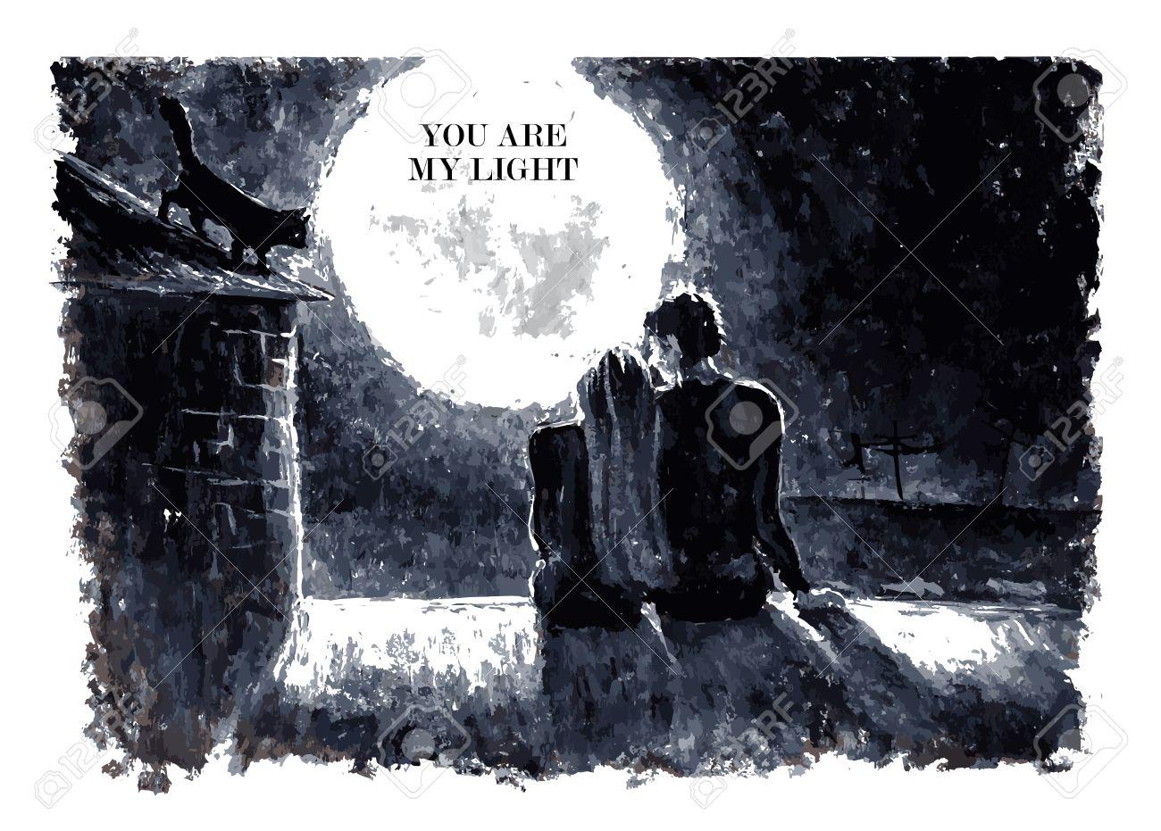黒と白の水彩ベクトル テキスト場所と夜の空の星の下で月にして屋根の