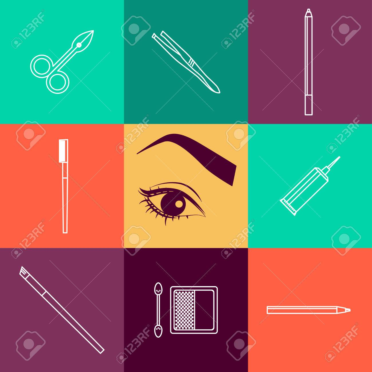 Vector Flat Beauty Industry Icons Design. Cosmetics Label Or.. Stock ...