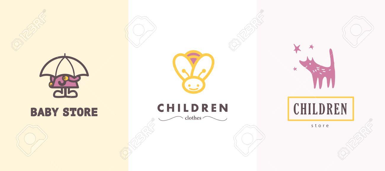 Dibujado a mano colección de vectores de logo bebé. Los niños de diseño de  etiquetas 9701d30fe433