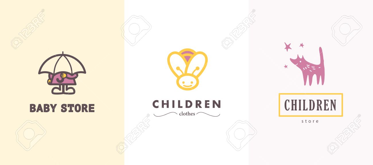 Hand Drawn Vector Collection Of Baby Logo Kids Fashion Label
