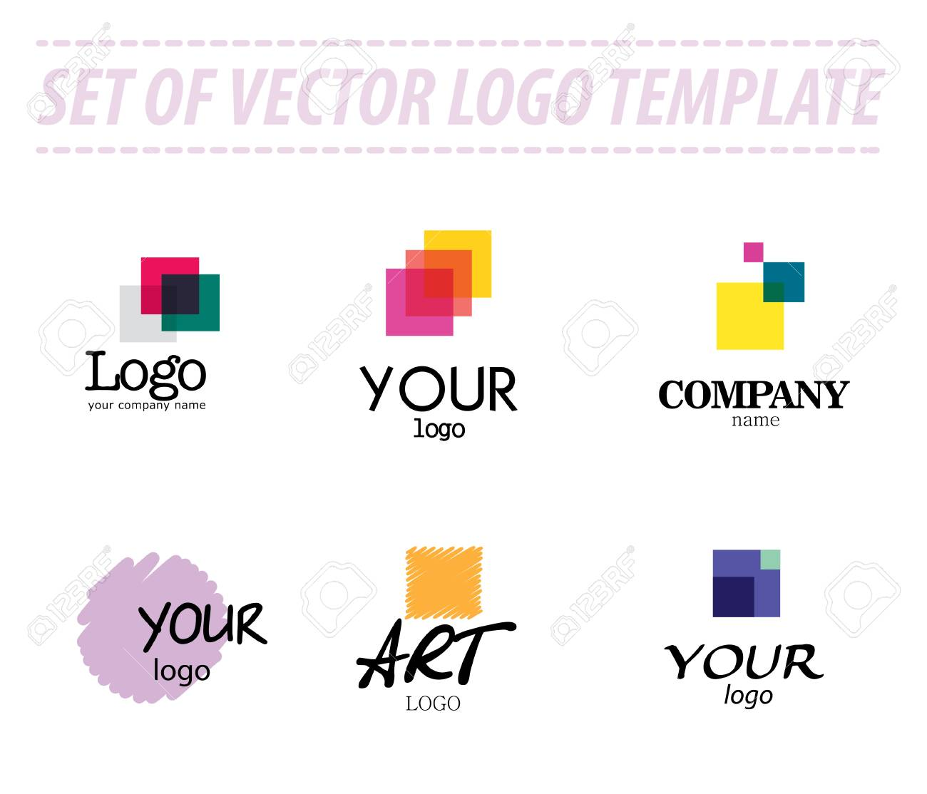 Set Of Abstract Vector Logo Templates On White Background ...