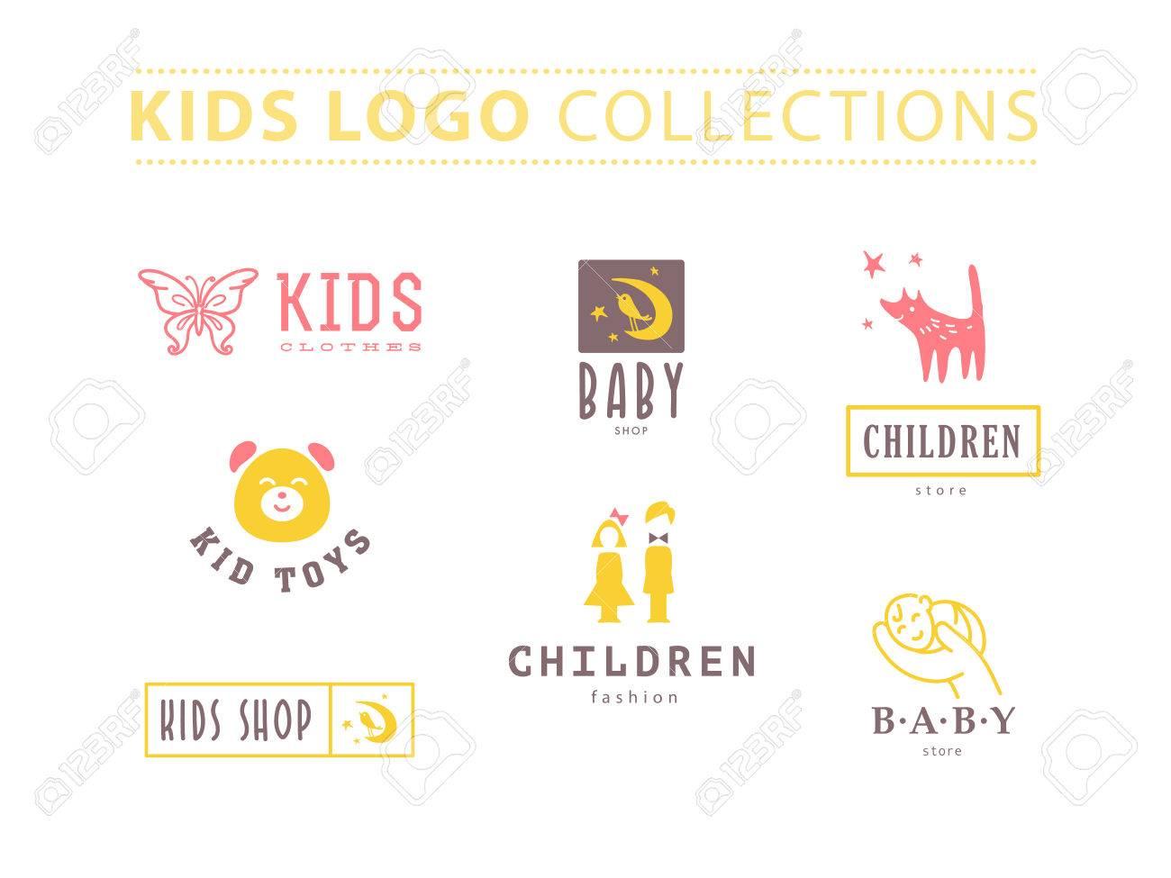 Vector collection of baby logo  Kids fashion label design  Children