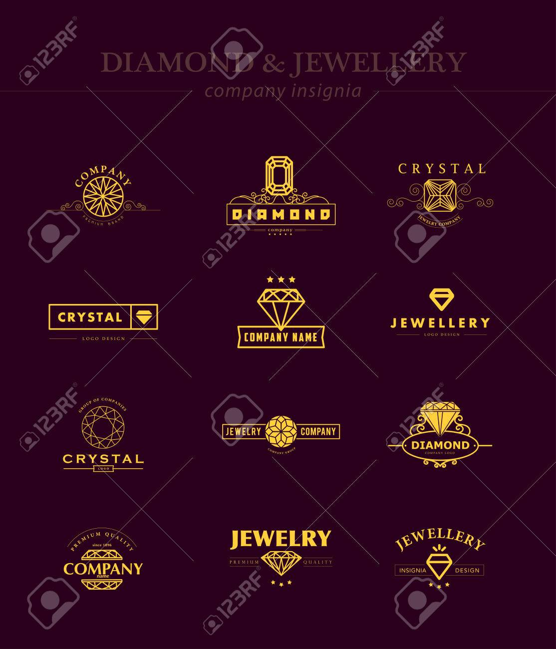 vector collection of jewellery and diamond logos flat crystal