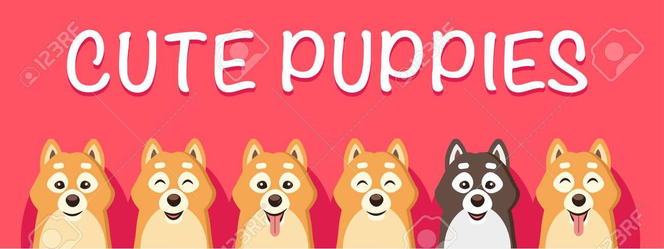 Vector Illustration De Chien Mignon Siba Inu Puppy Caractere