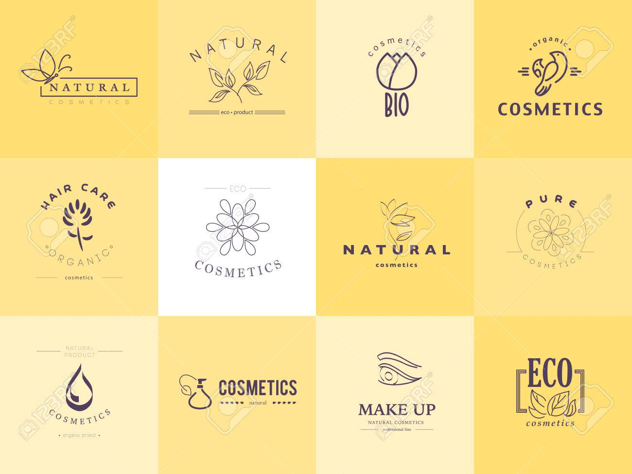 Vector collection of cosmetics logo identity templates. Natural and eco product label. Organic cosmetics and health care insignia. - 50956341