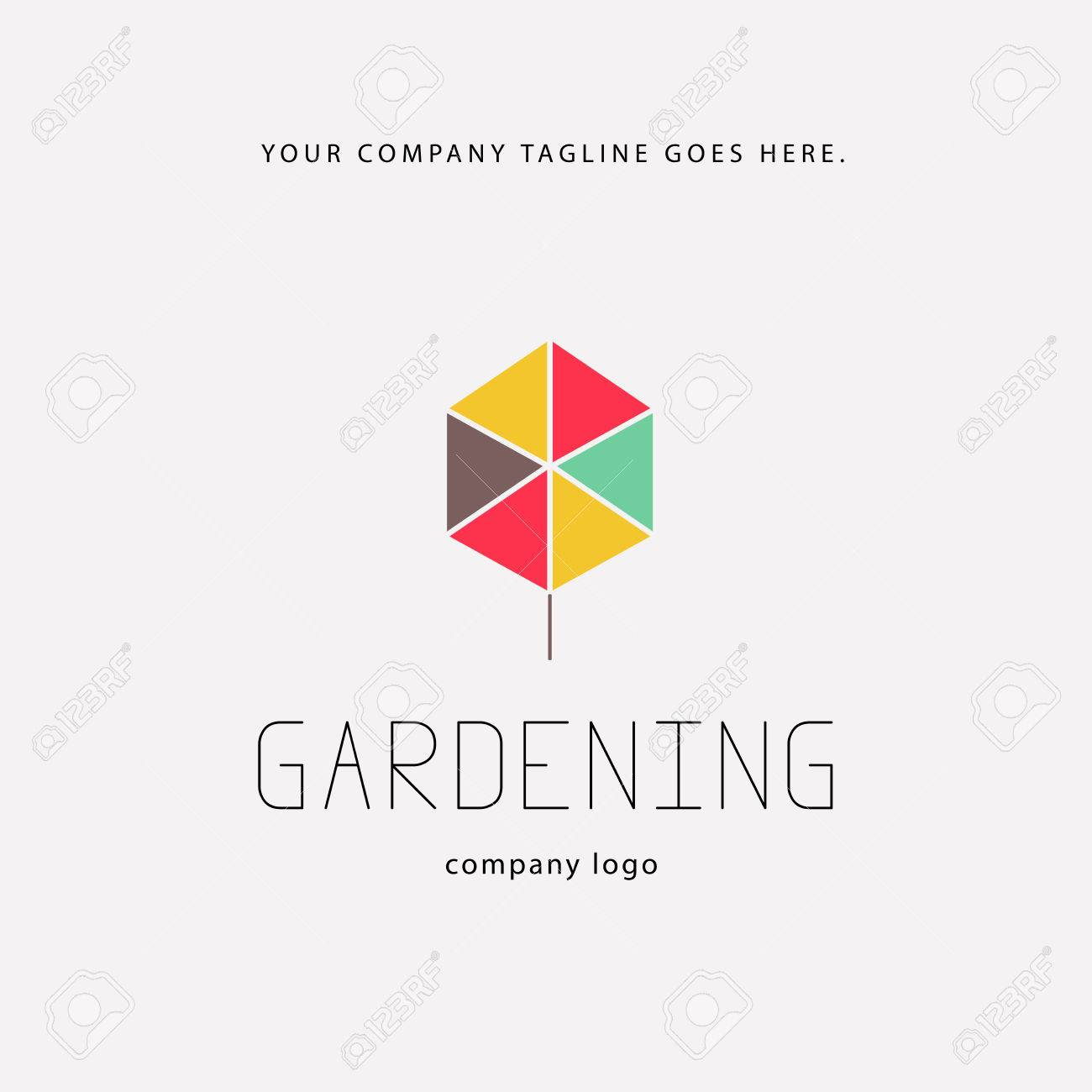 Vector   Vector Flat Elegant Logo Template For Gardening Companies.  Gardening Service Brand Mark Graphic Sample.