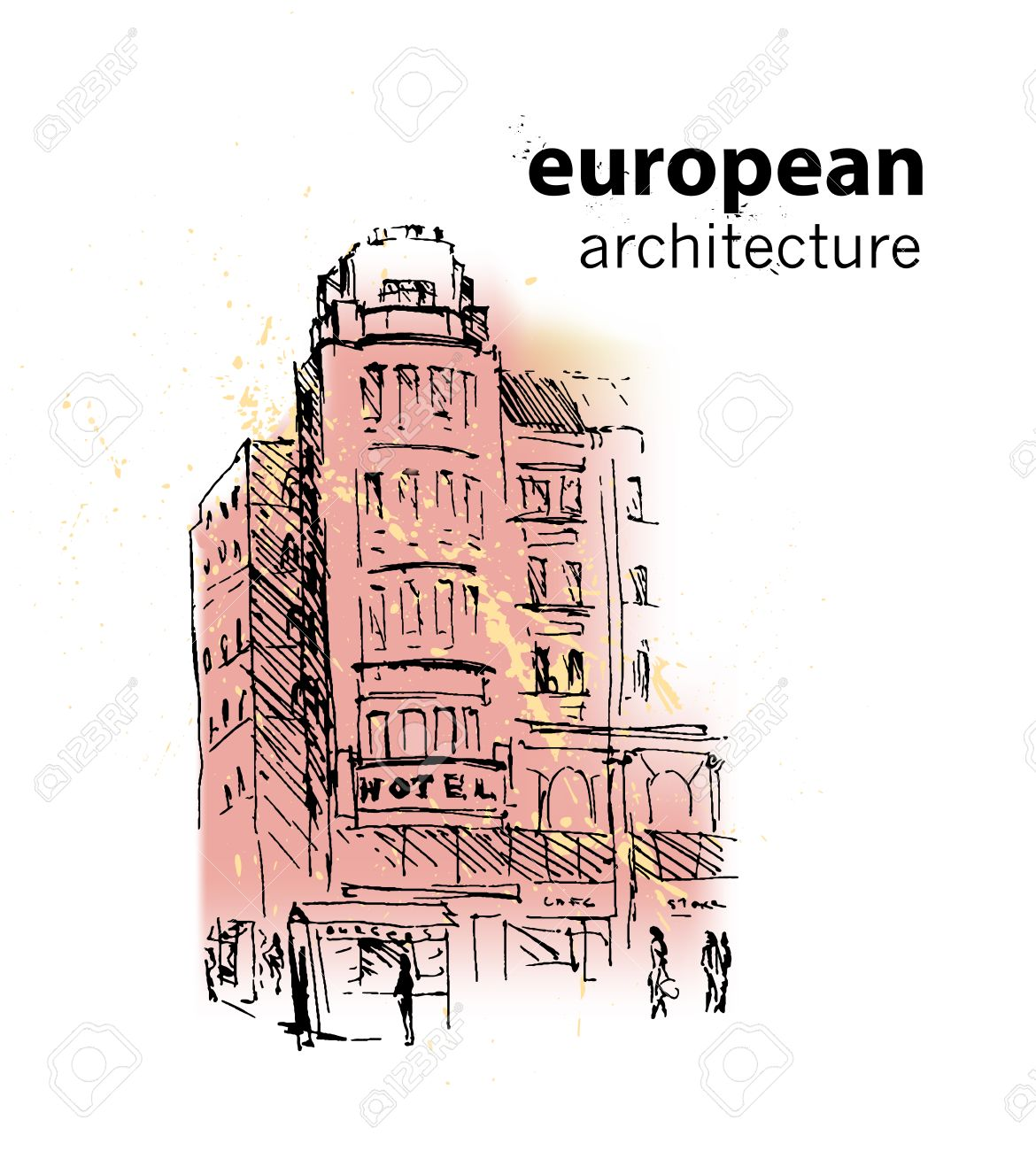 Vector Hand Drawn City Sketch Prague Architecture Ink Drawing Ancient European Building
