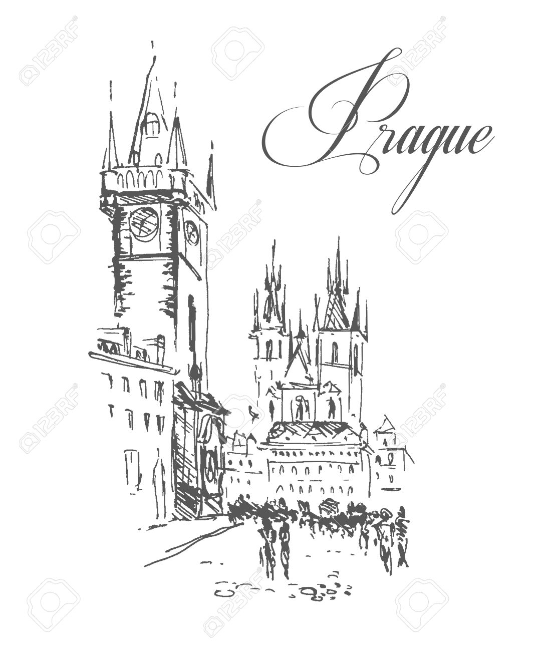 Vector Hand Drawn City Sketches Prague Architecture Ink Drawing Ancient European Buildings