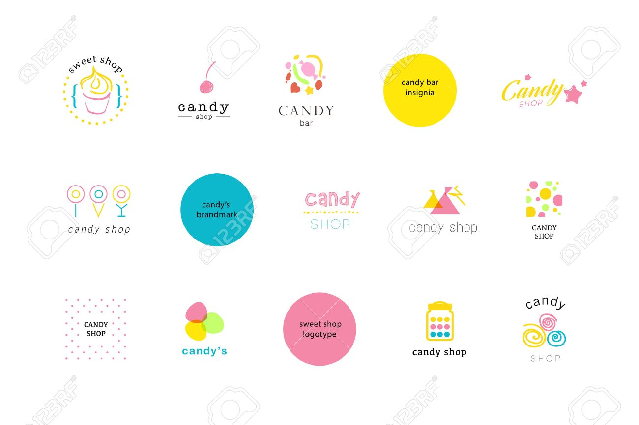 Vector flat logo collection for candy shop and sweet store. Candy bar brand mark design. Also good for children print template. - 51163654