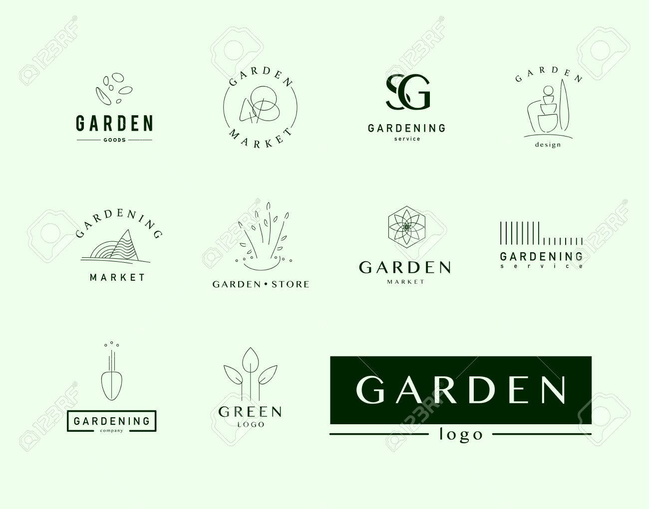 Beau Collection Of Vector Flat Elegant Logo Template For Gardening Companies.  Gardening Service Brand Mark Graphic