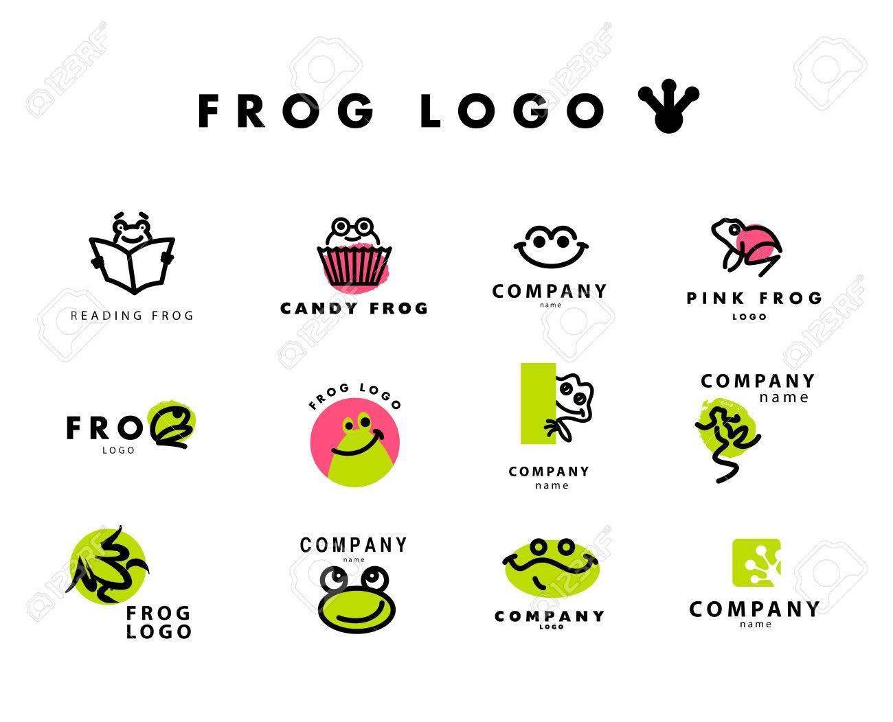 ベクトル カエル文字のシンプルなフラットのロゴ。かわいいカエルの