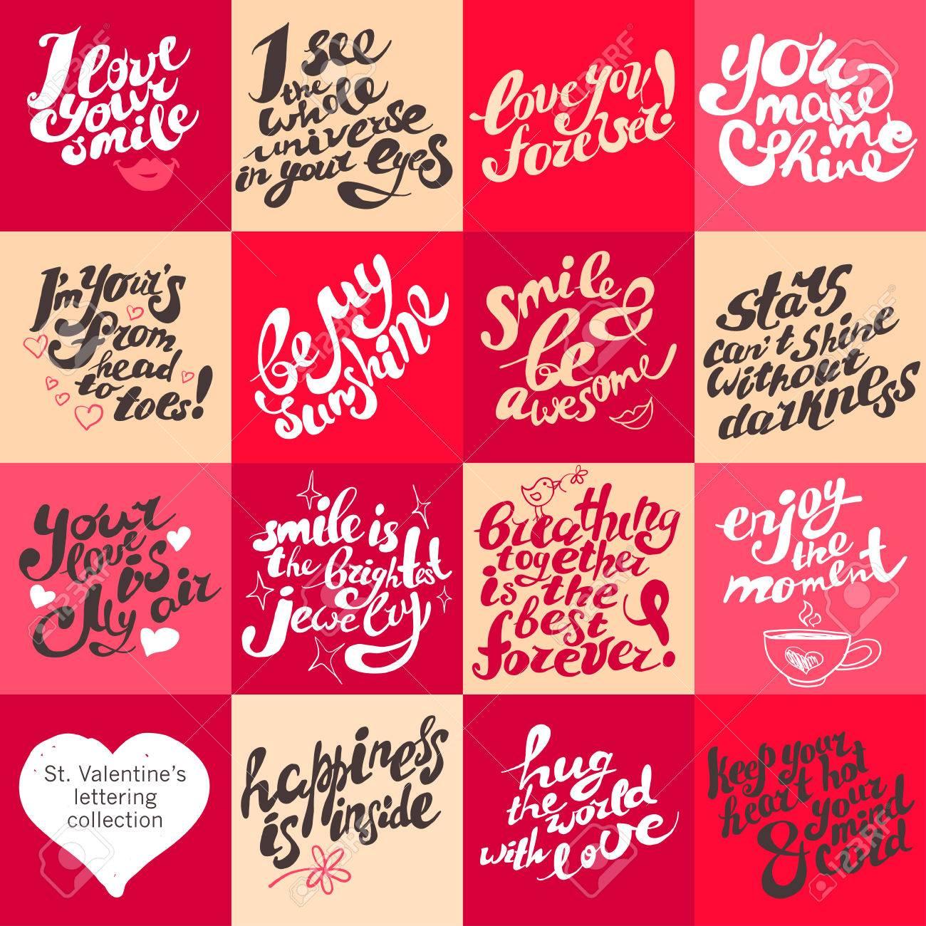 Vector Postkarte Design-Vorlage Mit Schriftzug. St. Valentinstag ...