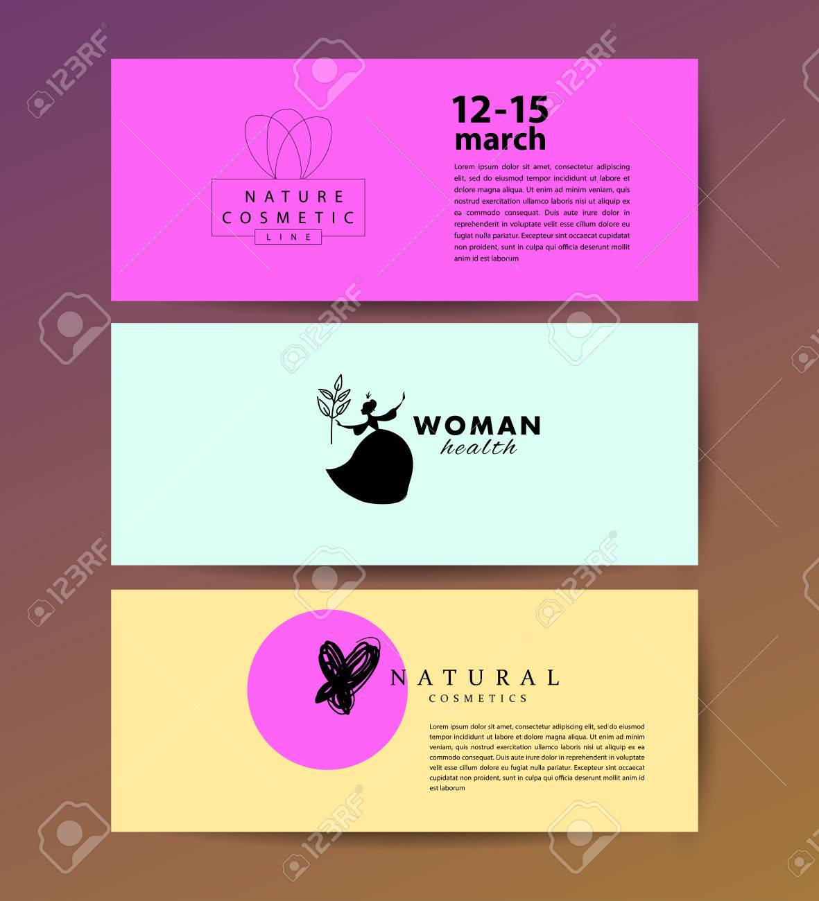 vector simple flat cards laeflets flyers with cosmetic logo