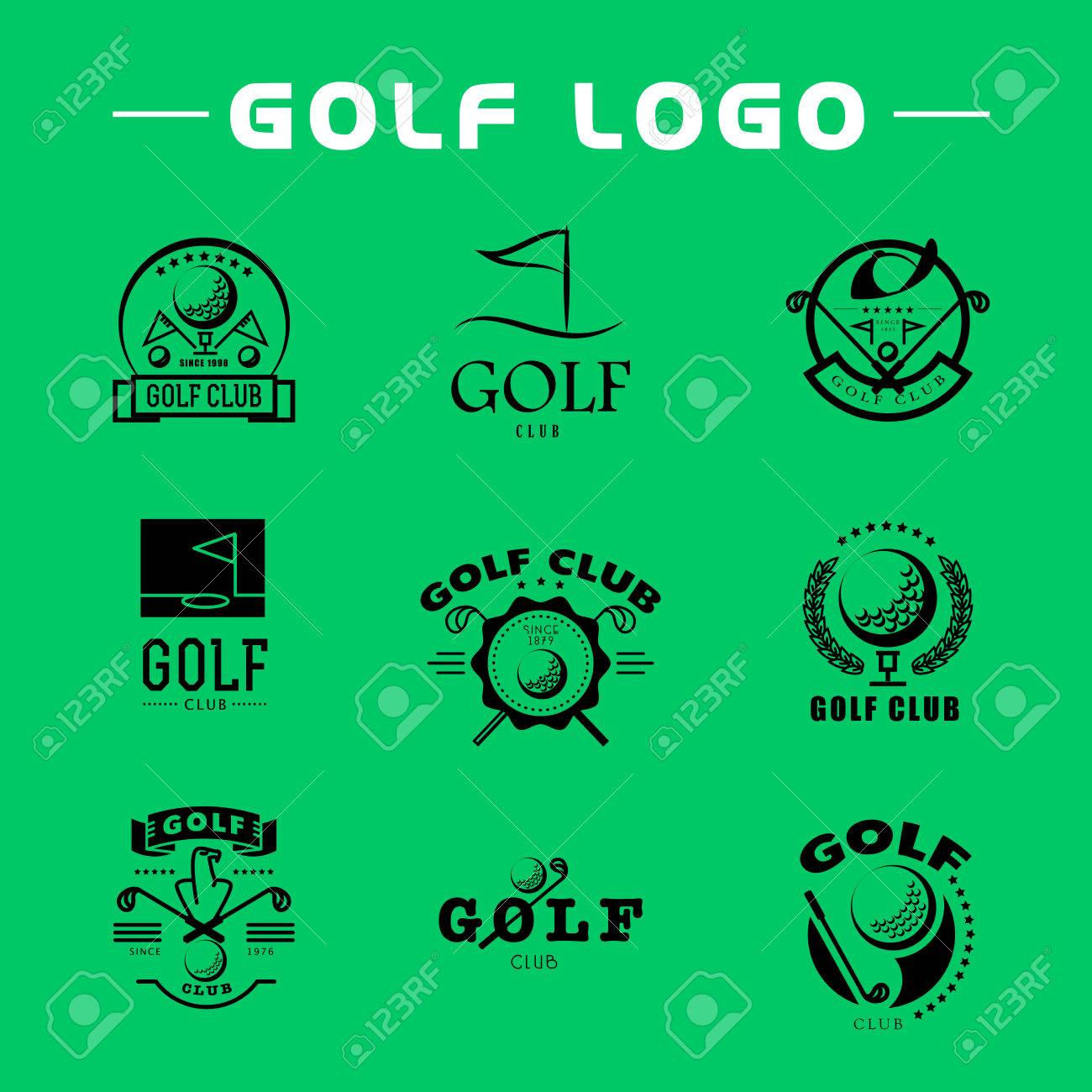 Vector Flat Golf Logo Design Golf Player Icon Sport Logo Golf Royalty Free Cliparts Vectors And Stock Illustration Image 52808208