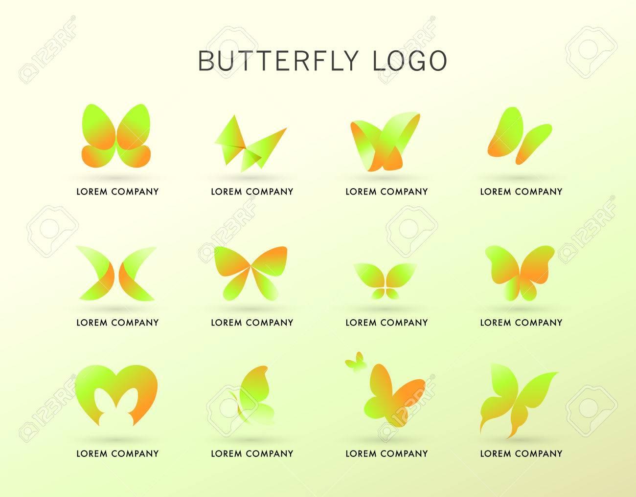 Logotipo Abstracto Con Carácter Mariposa. Icono De Insectos Simple ...