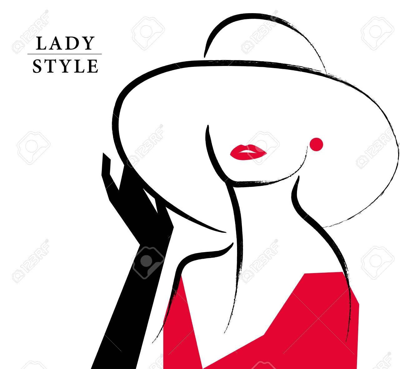 Vector Artistic Hand Drawn Stylish Young Lady Portrait Isolated On White  Background. Fashion Girl,  Fashion Poster Design