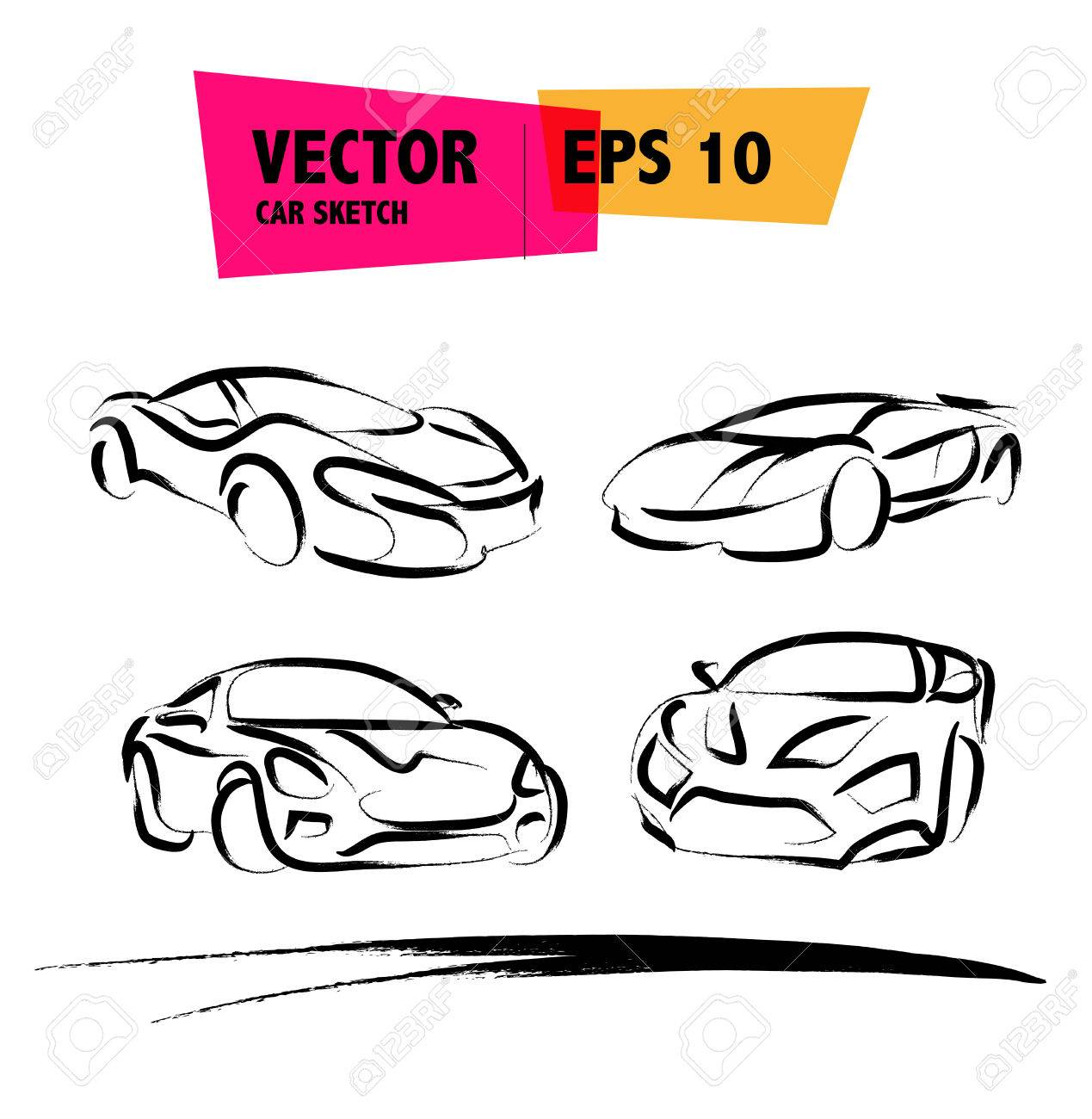 Vector Car Sketch Isolated. Hand Drawn Car Body. Auto Advertising ...