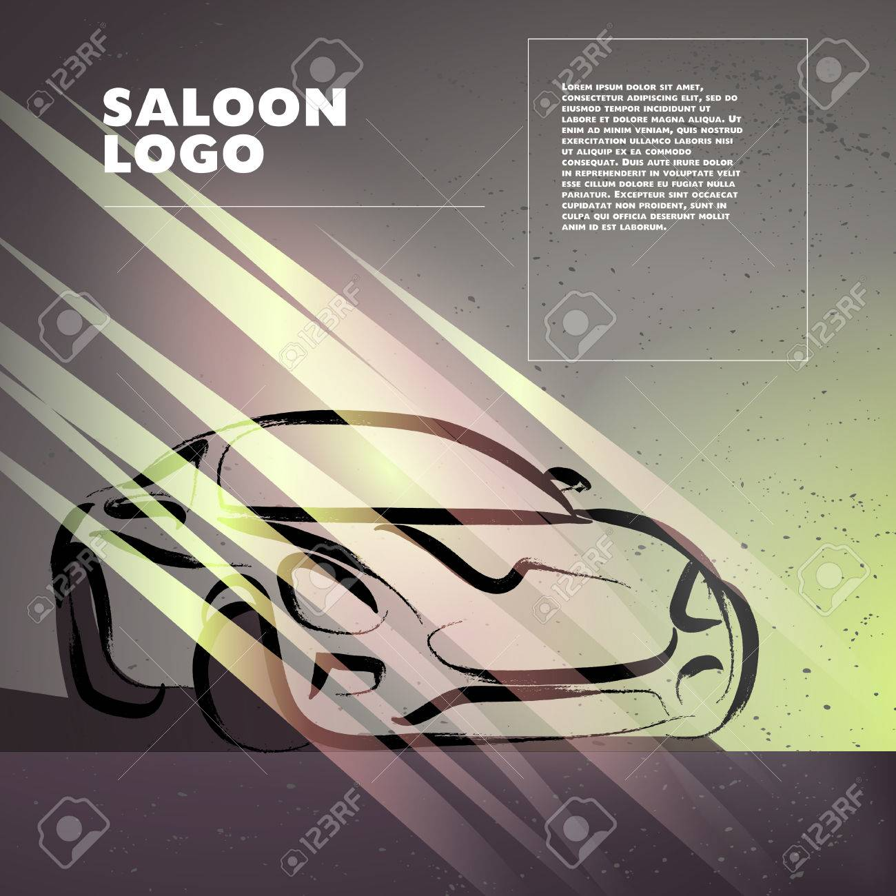 Vector car sketch isolated. Hand drawn car body. Auto advertising poster placard & Vector Car Sketch Isolated. Hand Drawn Car Body. Auto Advertising ...