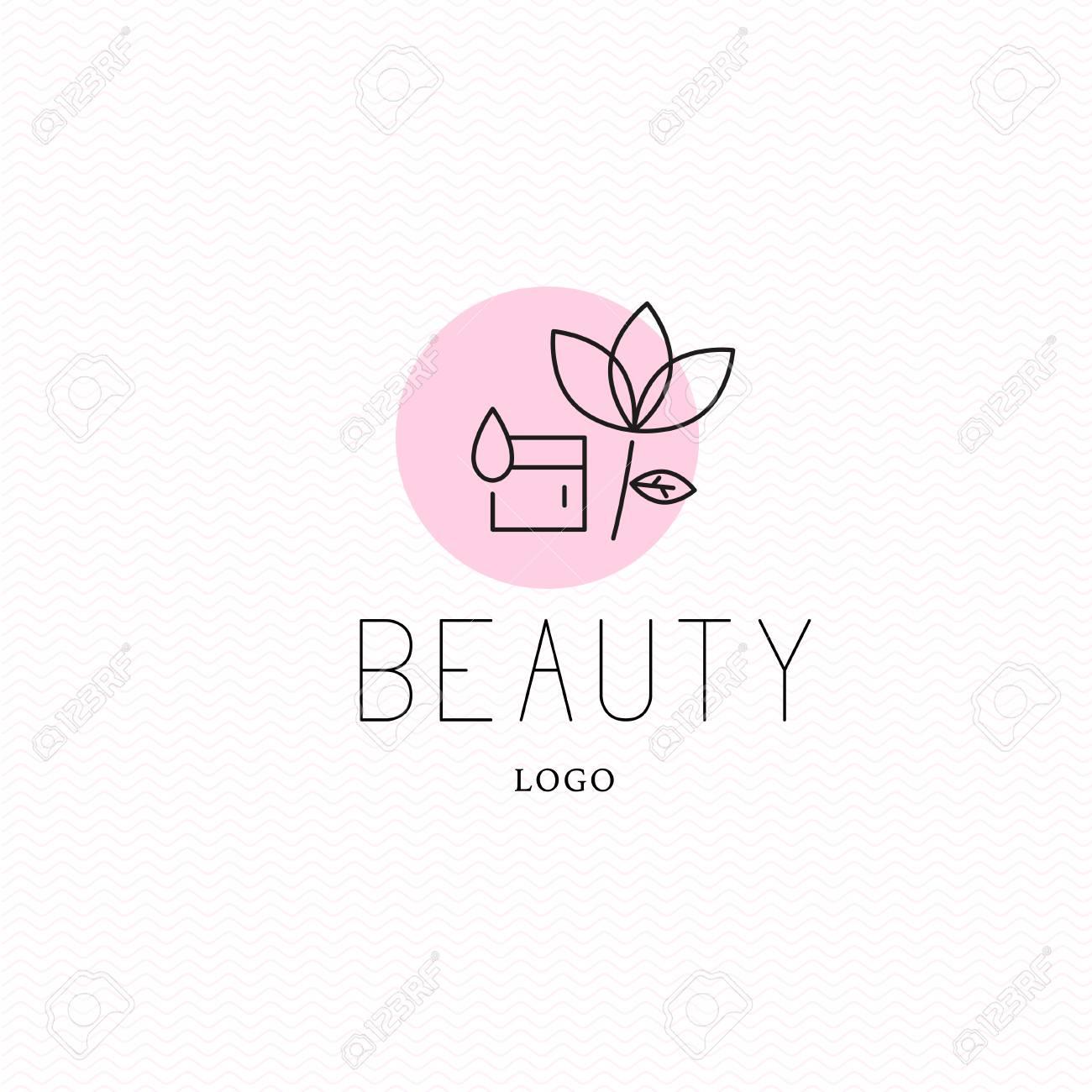 Vector cosmetic logo design template  Beauty brand mark, health