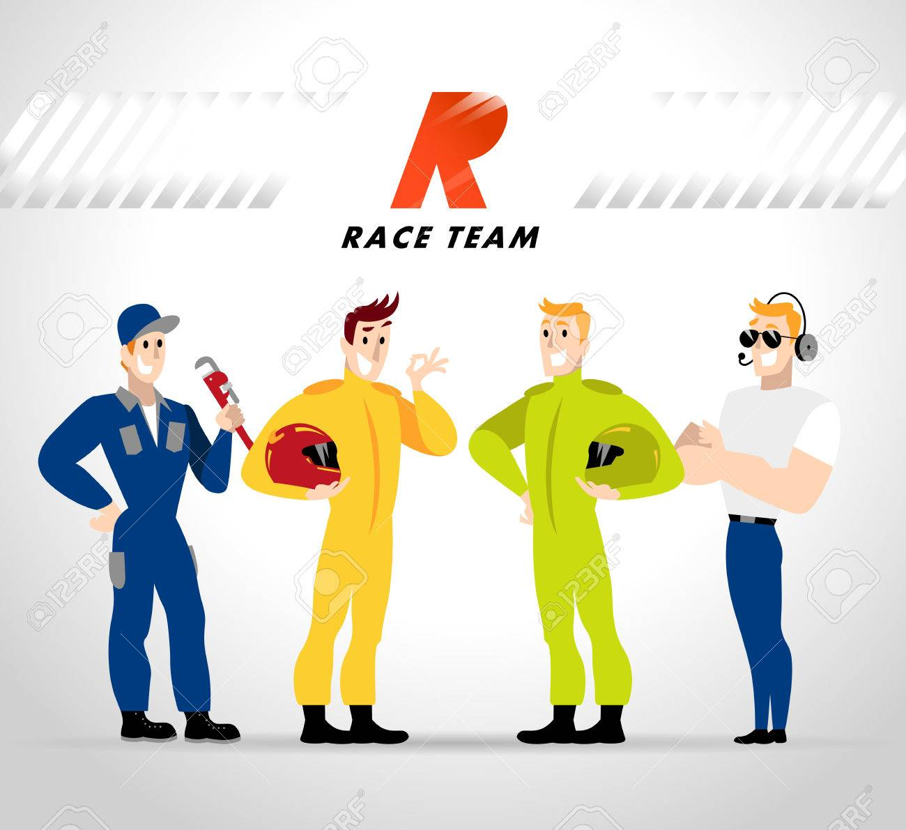 Vector flat profession characters. Human profession icon. Friendly, happy people portrait. Sport race team, car service group, people set. Auto logo, insignia. Man, boy, guy icon. Cartoon style. - 60936051