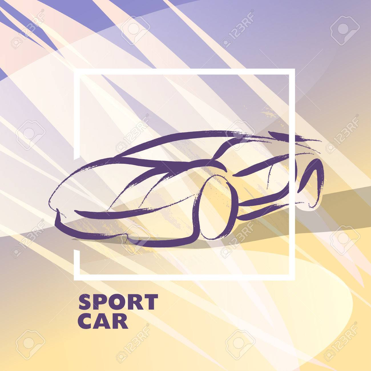 Vector Car Sketch Isolated Hand Drawn Car Body Auto Advertising
