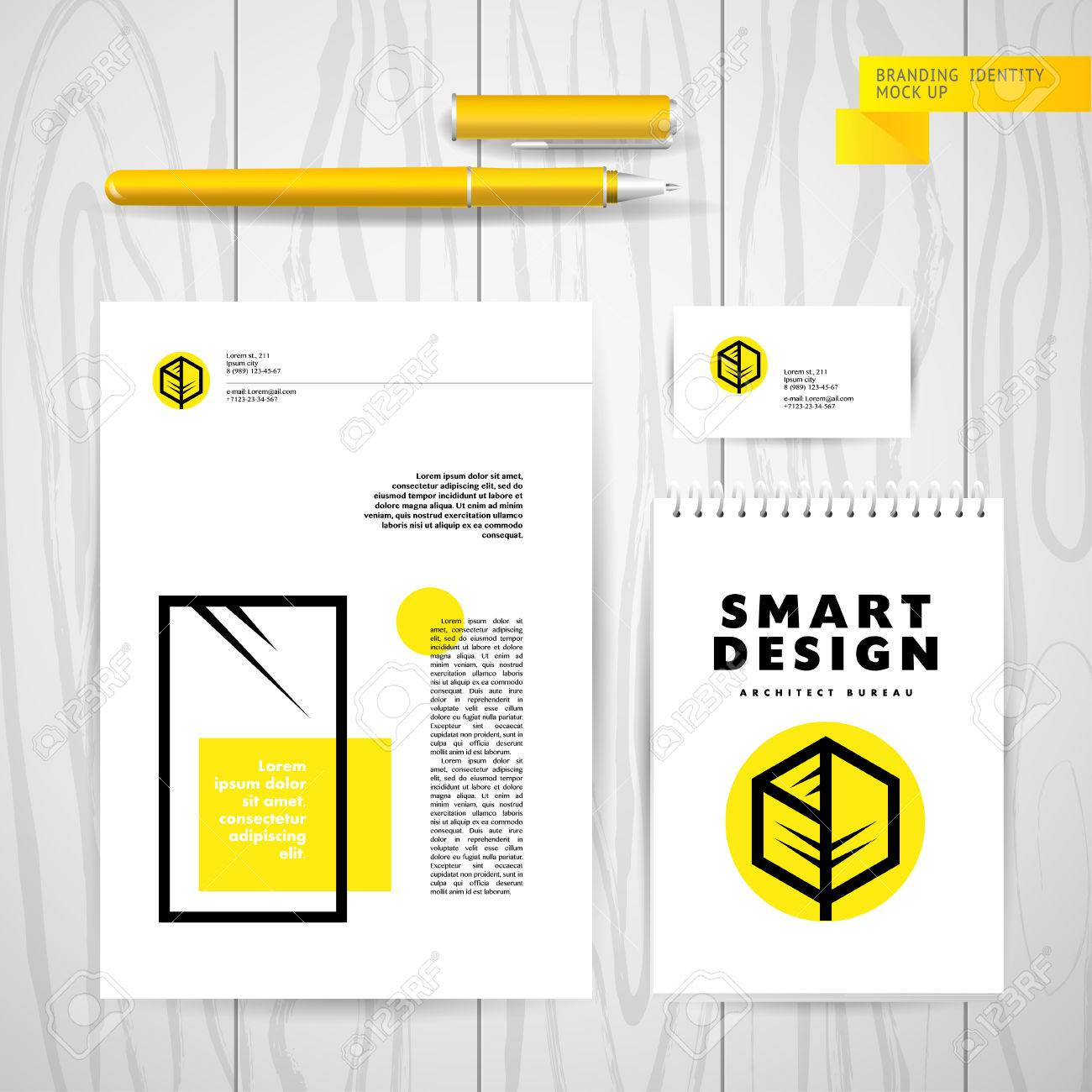Vector architect studio design building construction company business card vector architect studio design building construction company insignia isolated on wood texture table background magicingreecefo Images