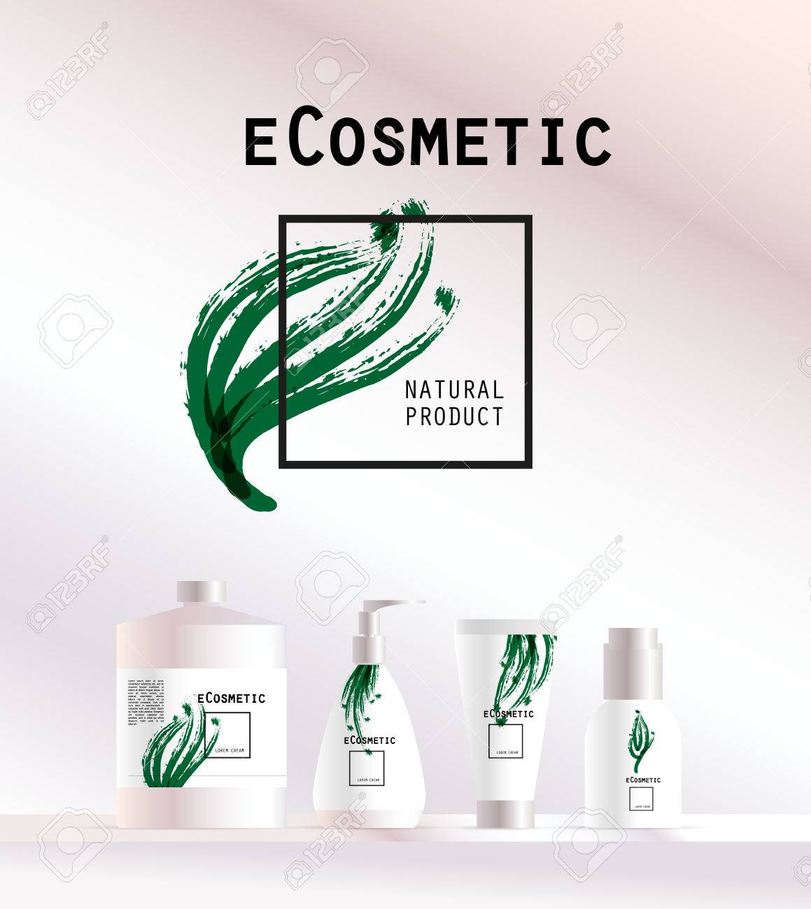Vector Kosmetische Abzeichen Auf Weißem Hintergrund. Eco ...