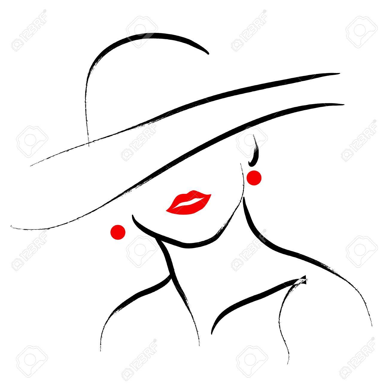 dessin femme au chapeau