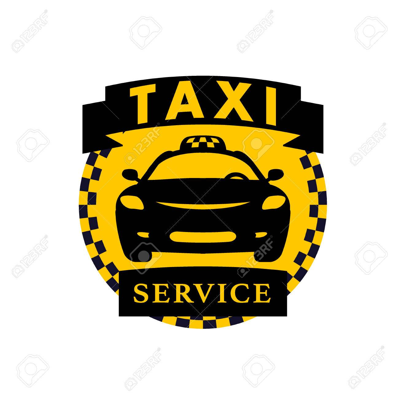 Vector Flat Taxi Logo Isolated On White Background Car Face